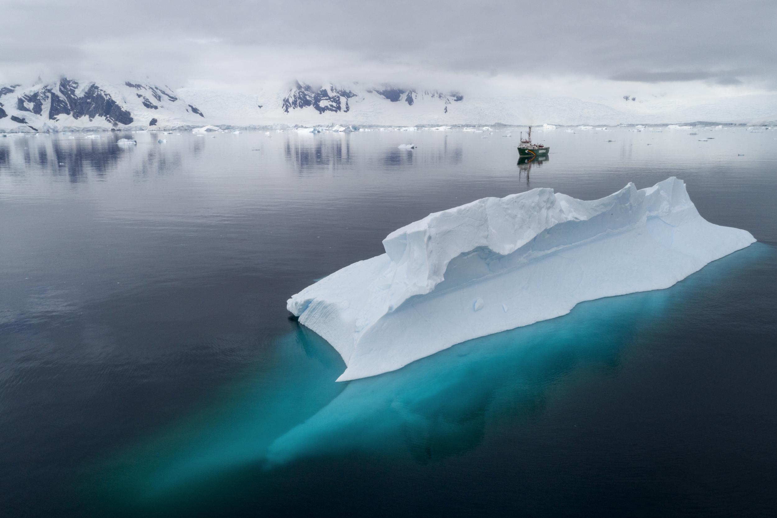 Greenpeace ship the Arctic Sunrise in Charlotte Bay, Antarctic Peninsula