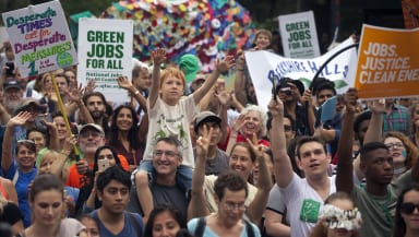 Crowd of participants in the People's Climate March in New York