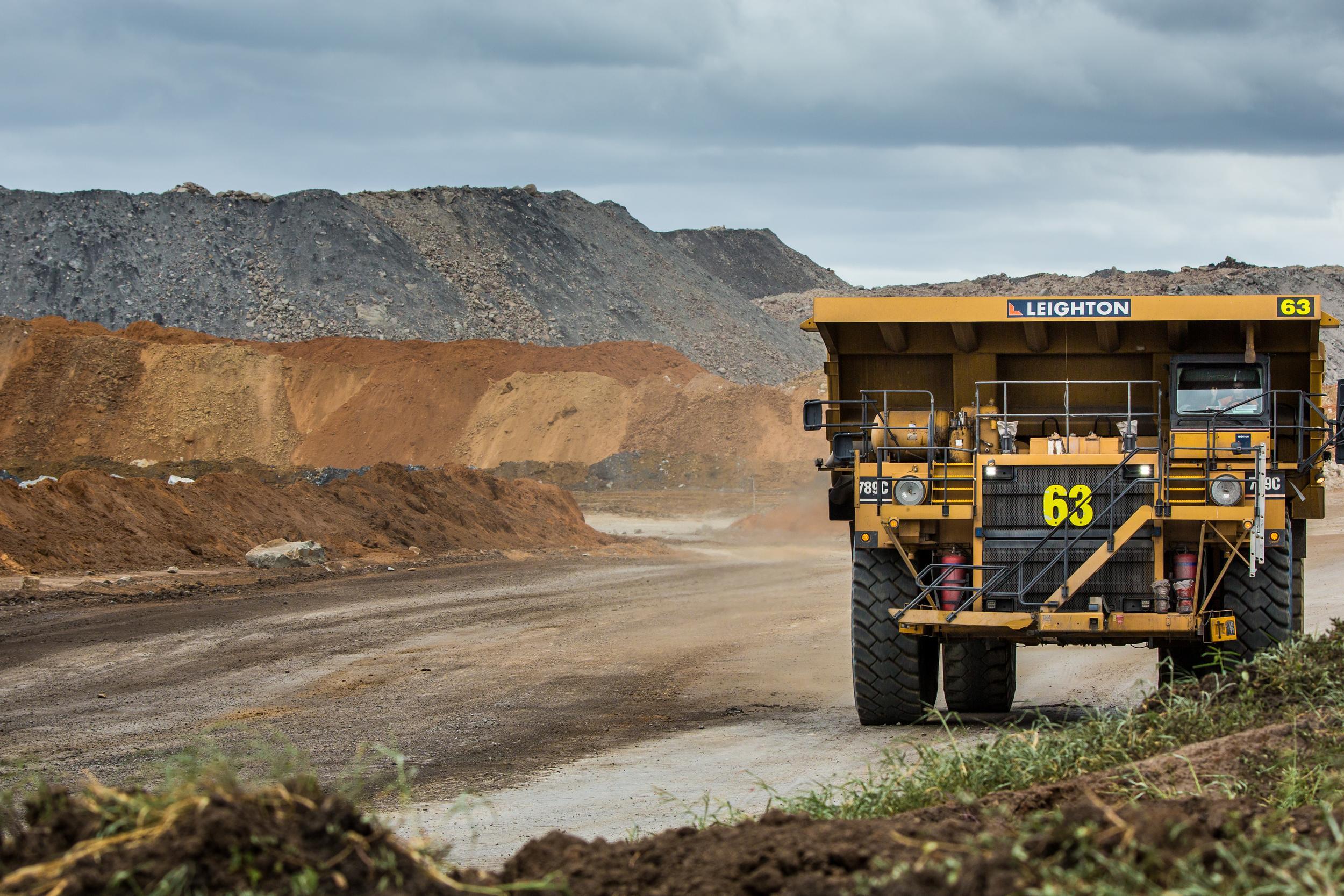 Truck and coal mine