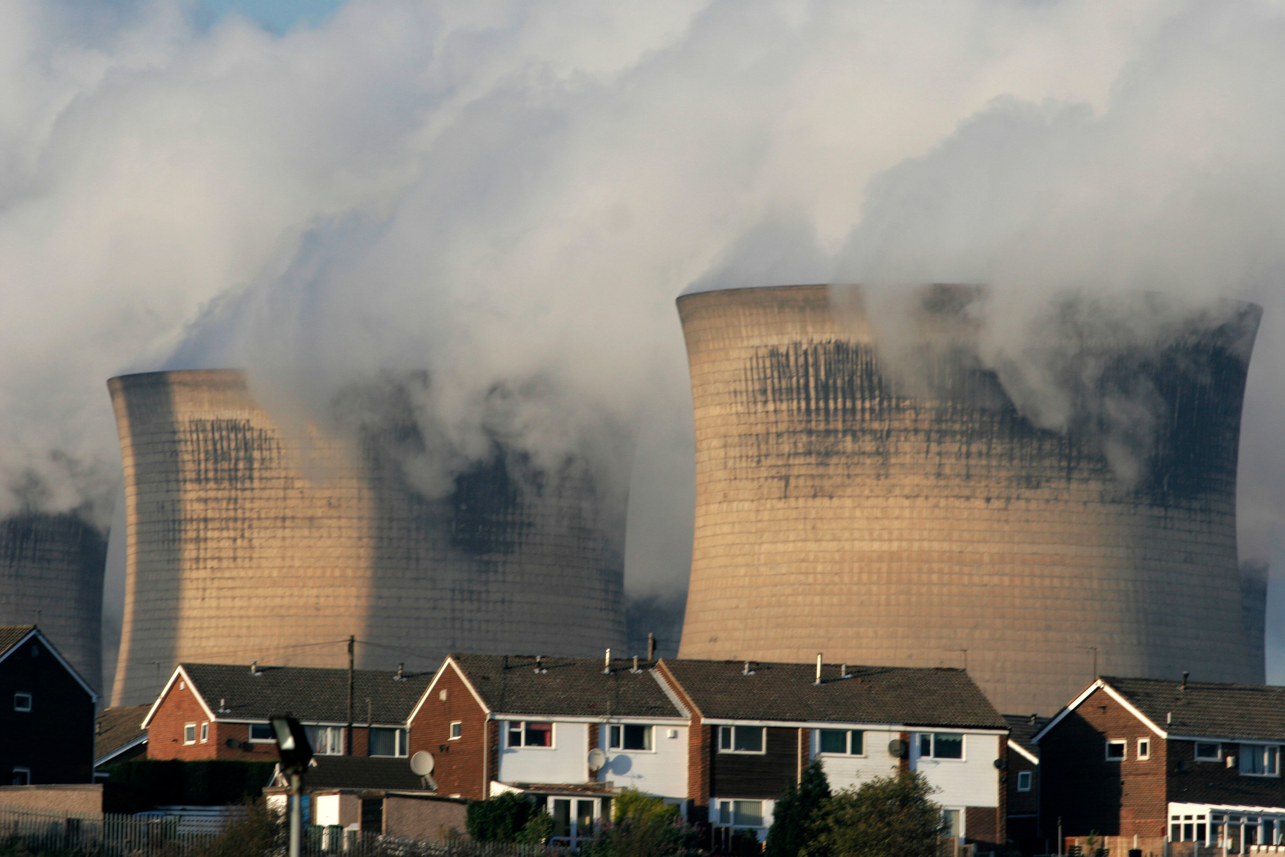 Ferrybridge Power Station in the UK with smoke coming out