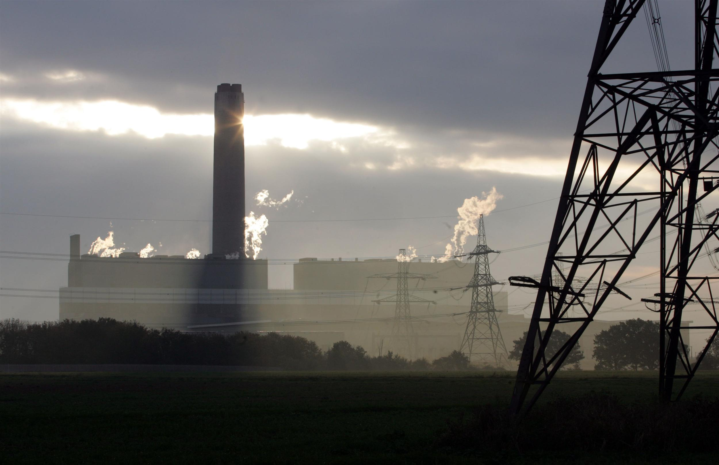 Kingsnorth Power Station with smoke coming out