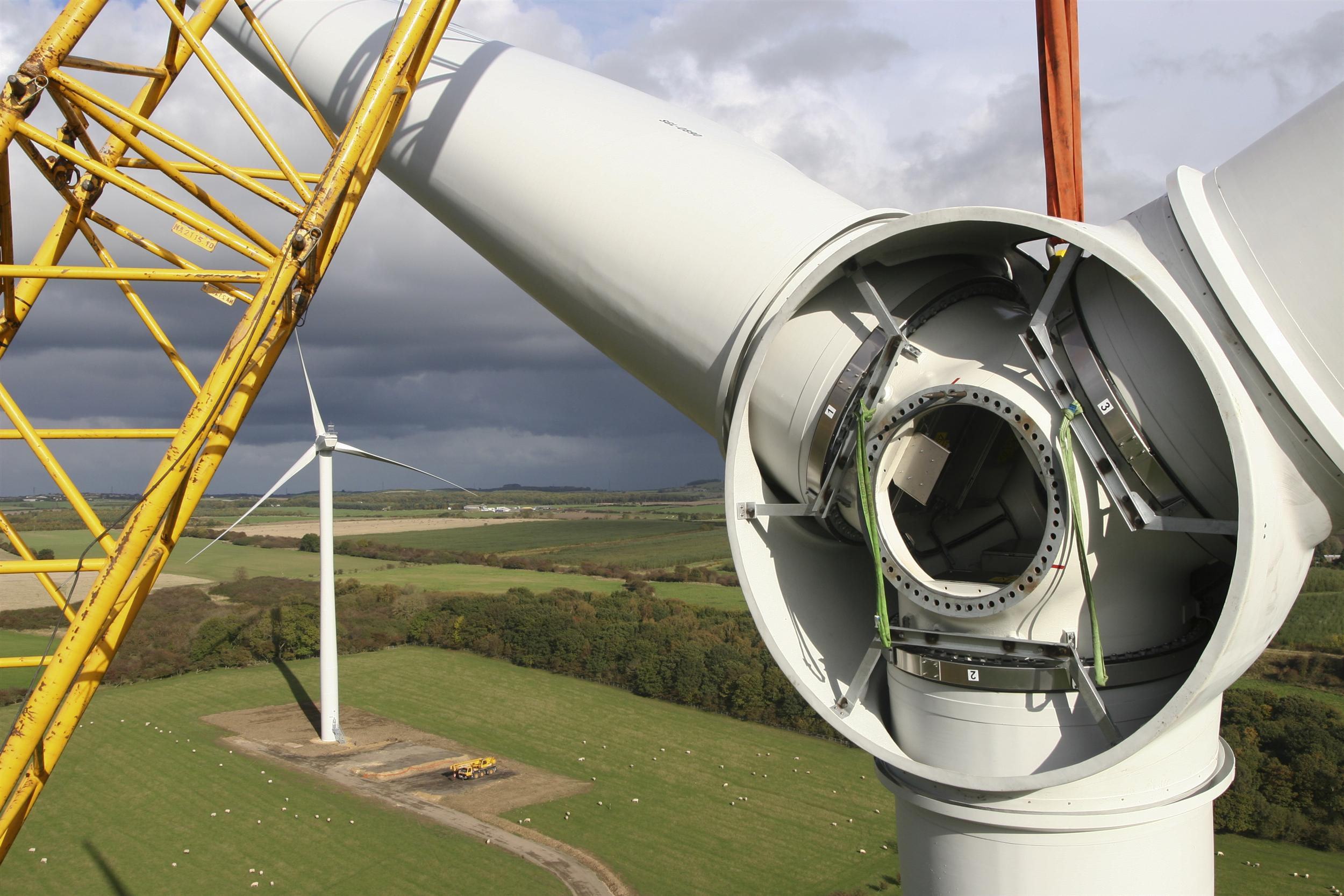 Close up of the insides of a wind turbine during construction at a wind farm