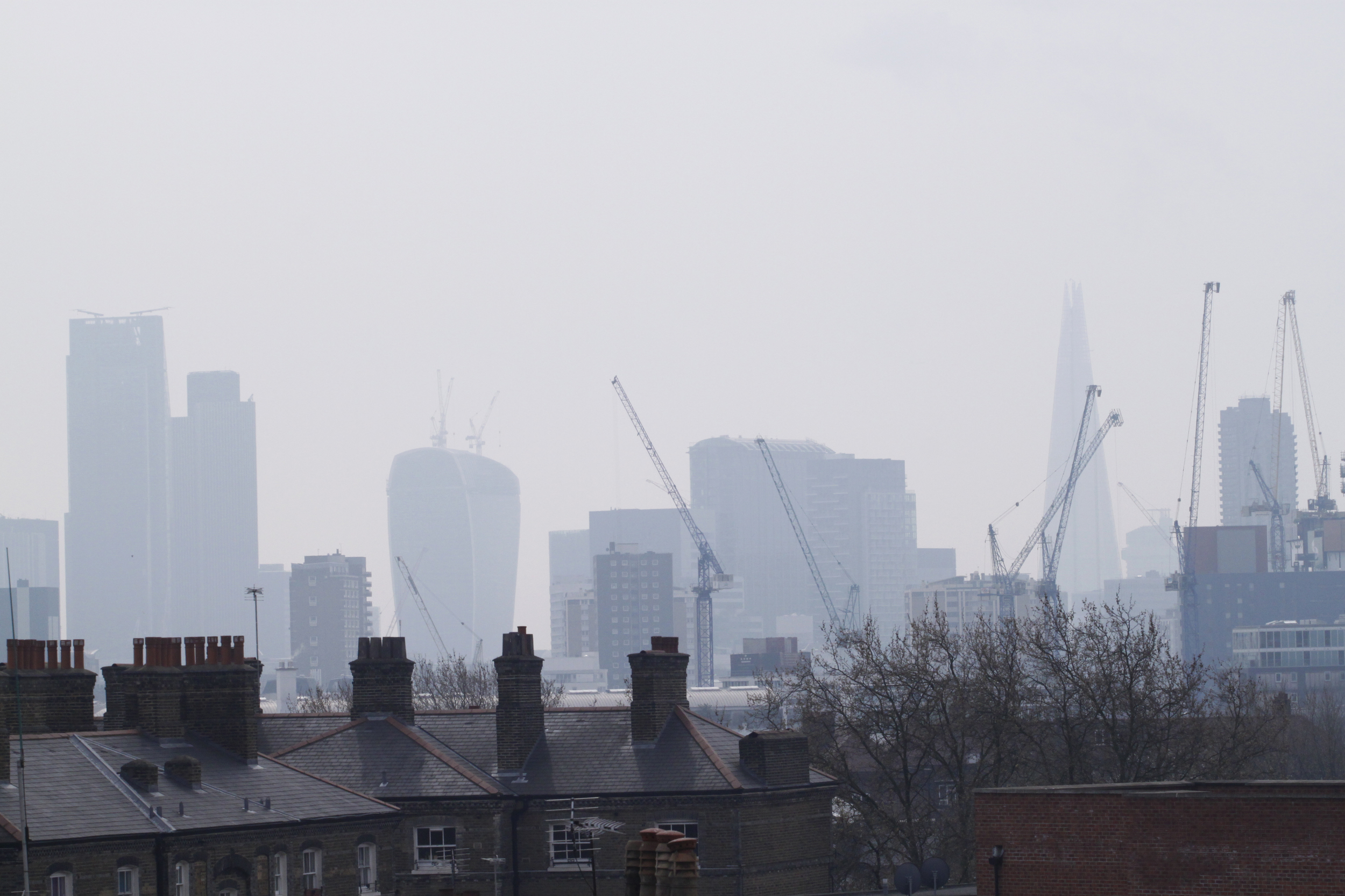 view of London in milky, hazy smog