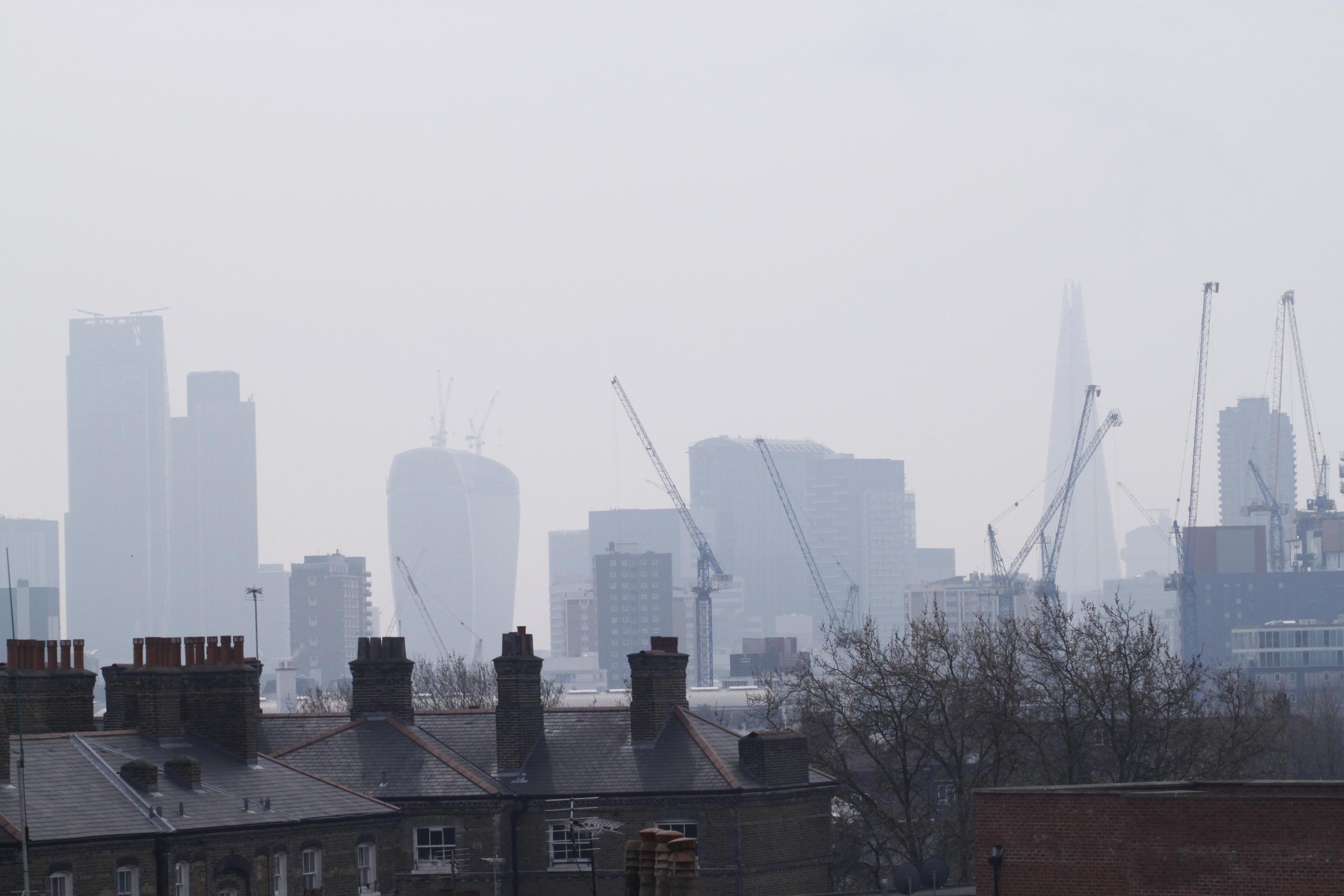 view of London in milky, hazy smog