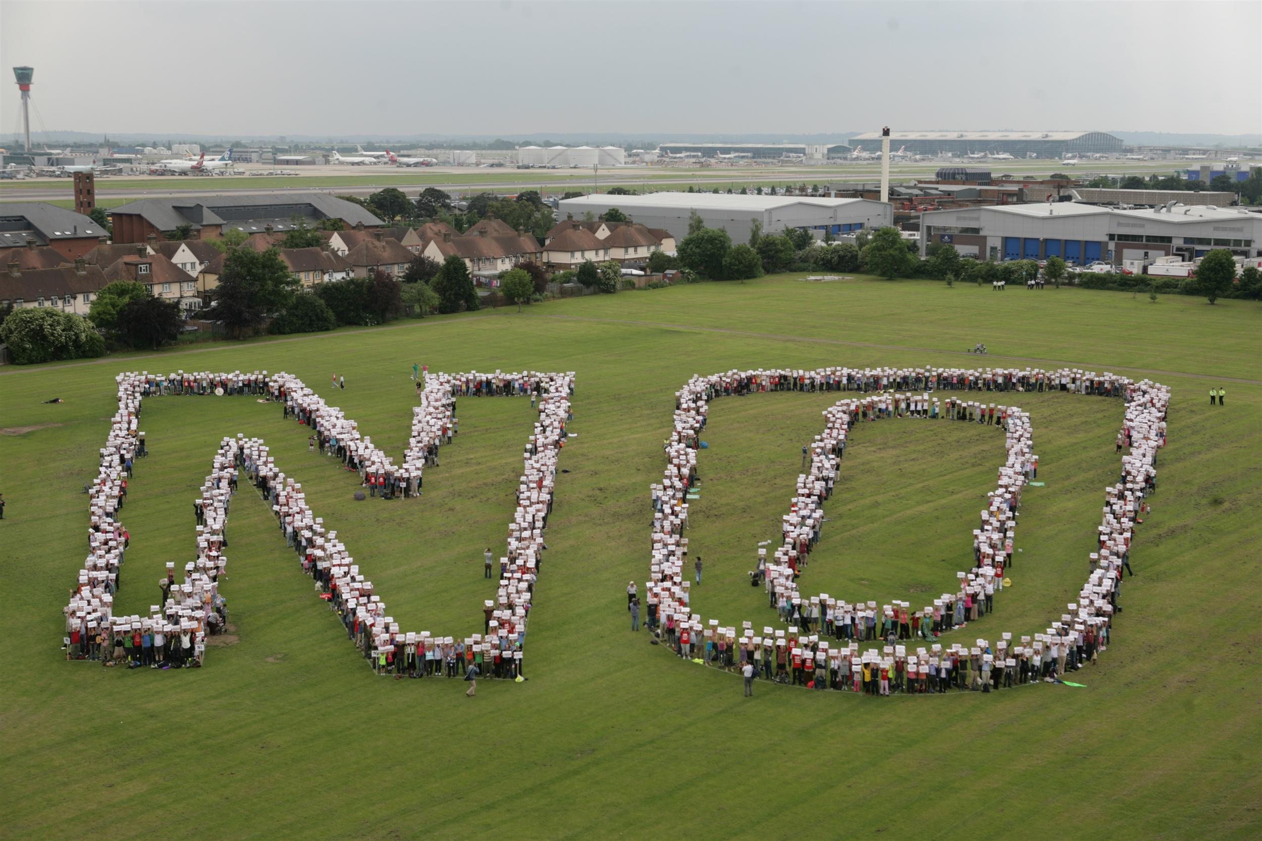 lots of people spelling out the word No