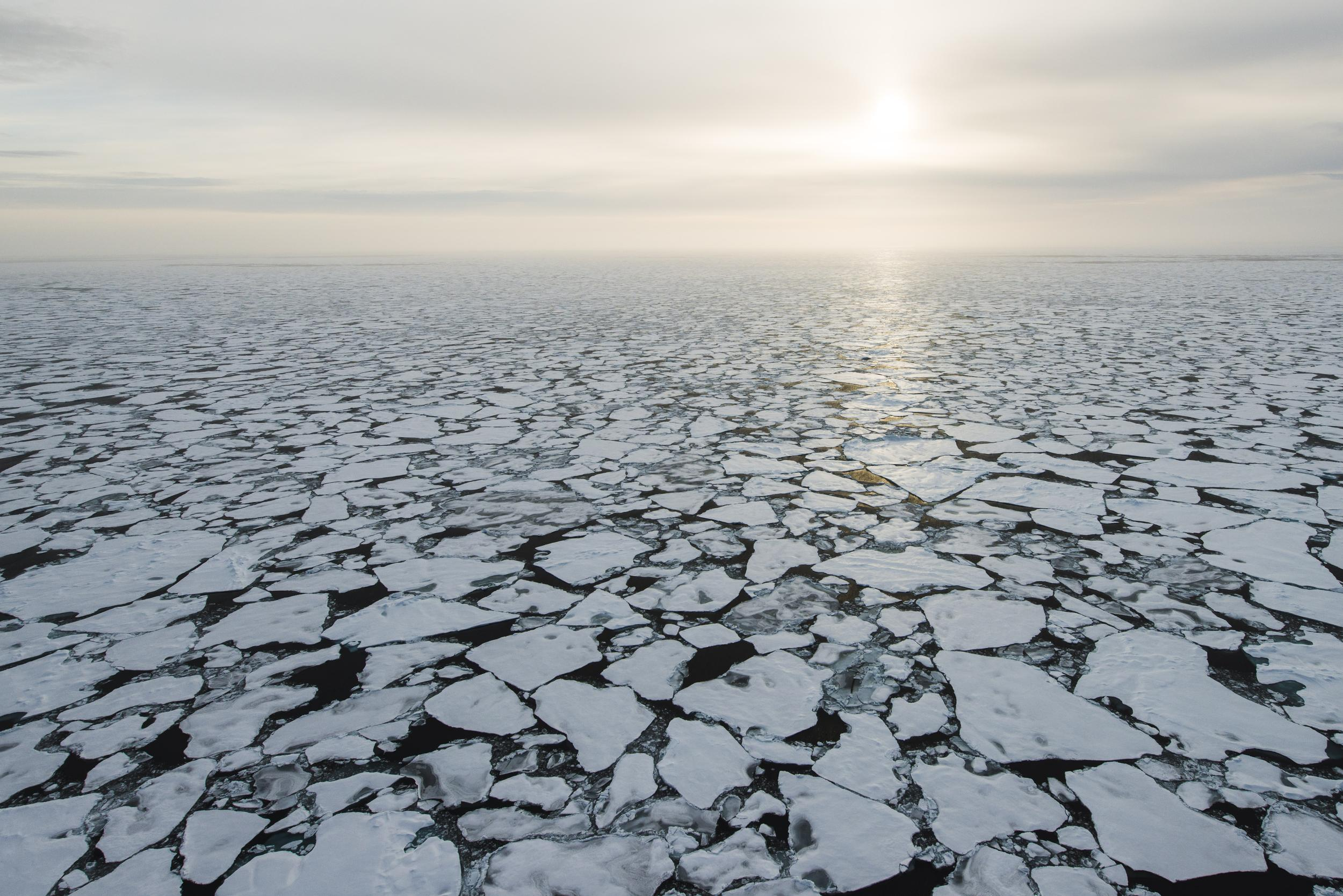 aerial view of cracked sea ice