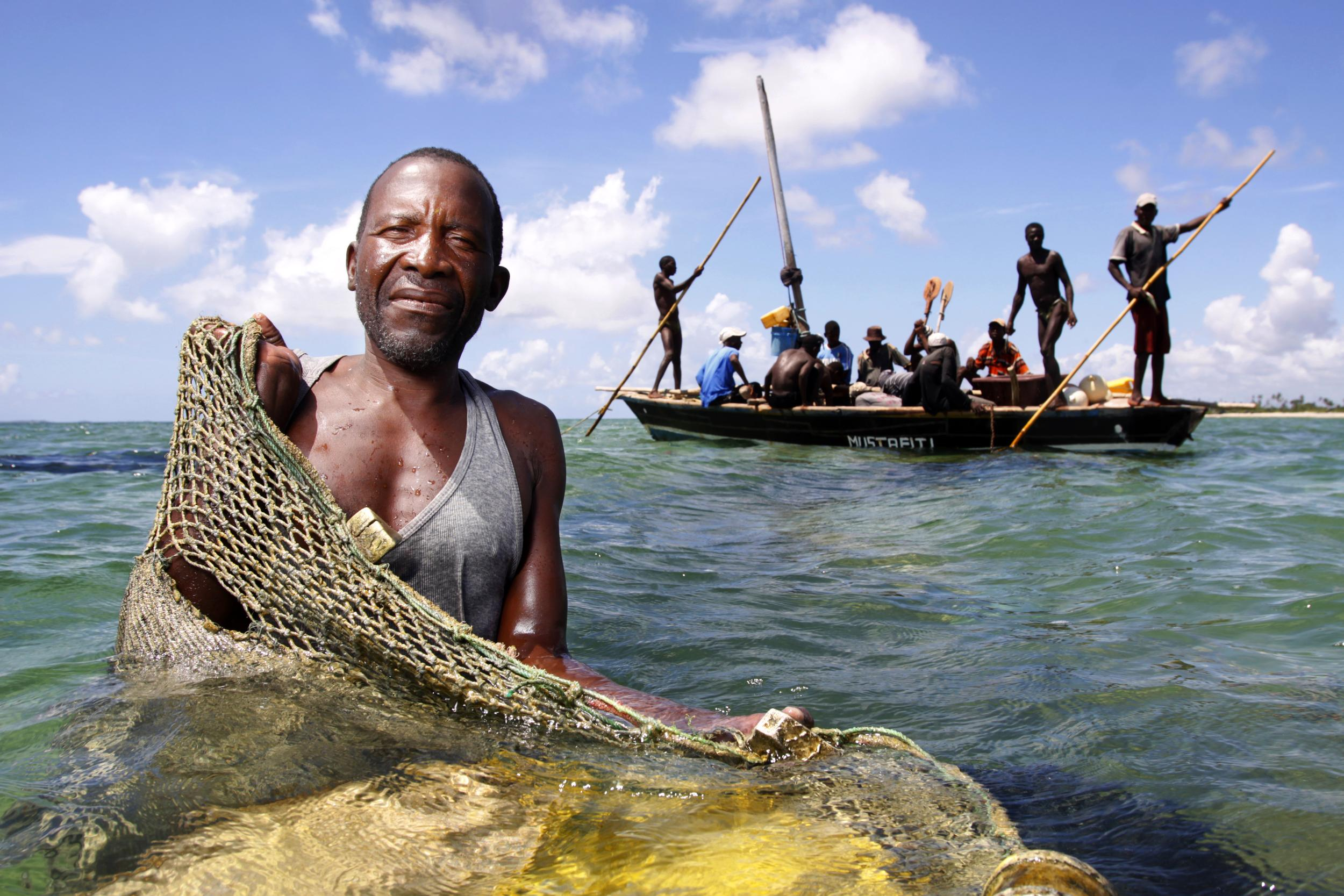 fisherman with fishing net