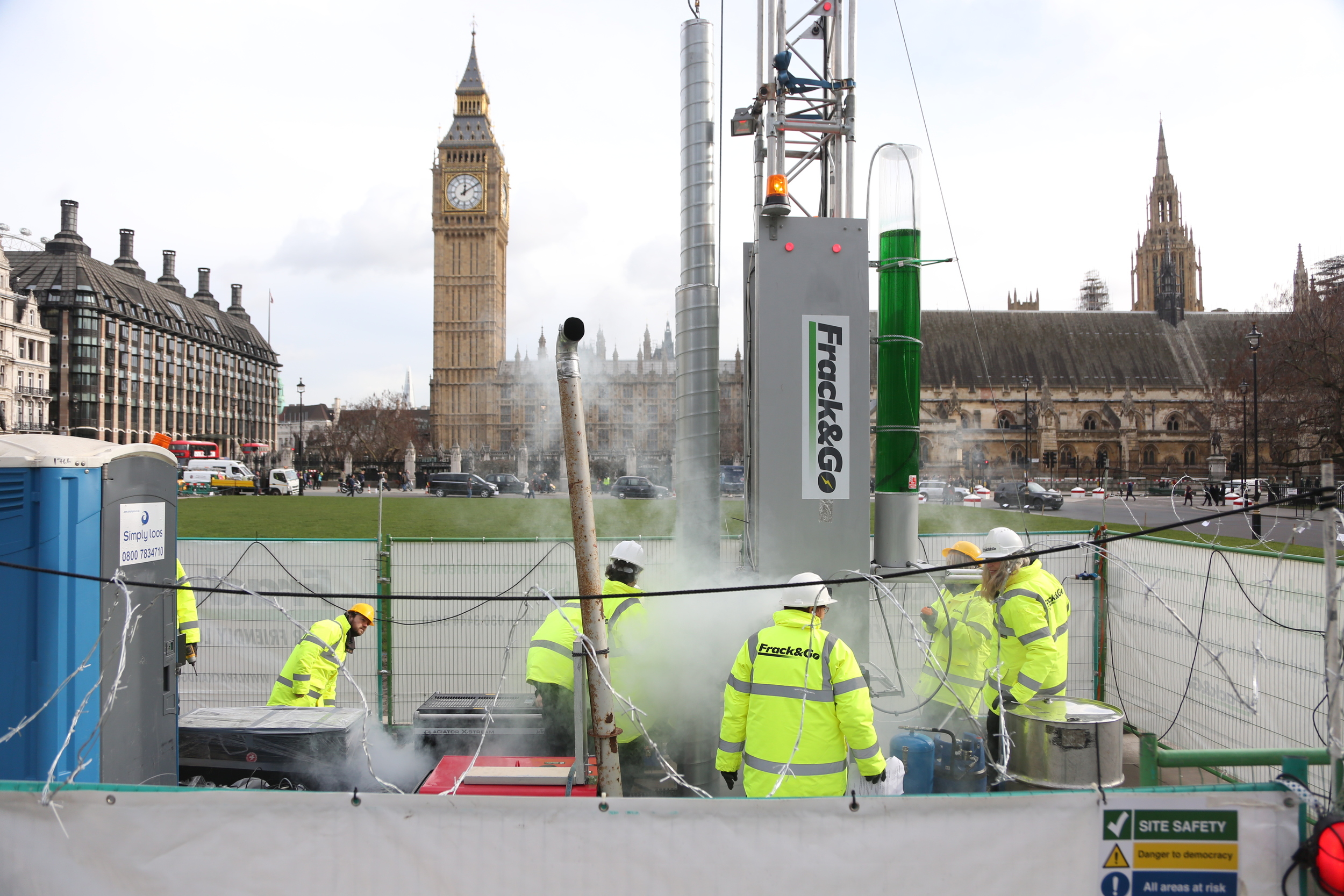 Pretend fracking rig outside Westminster as part of anti-fracking protest