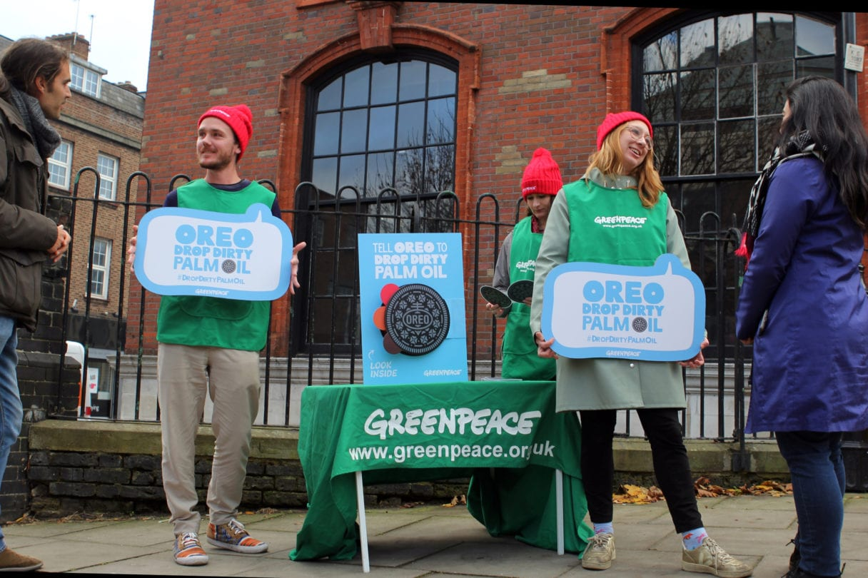Volunteers campaigning for greenpeace