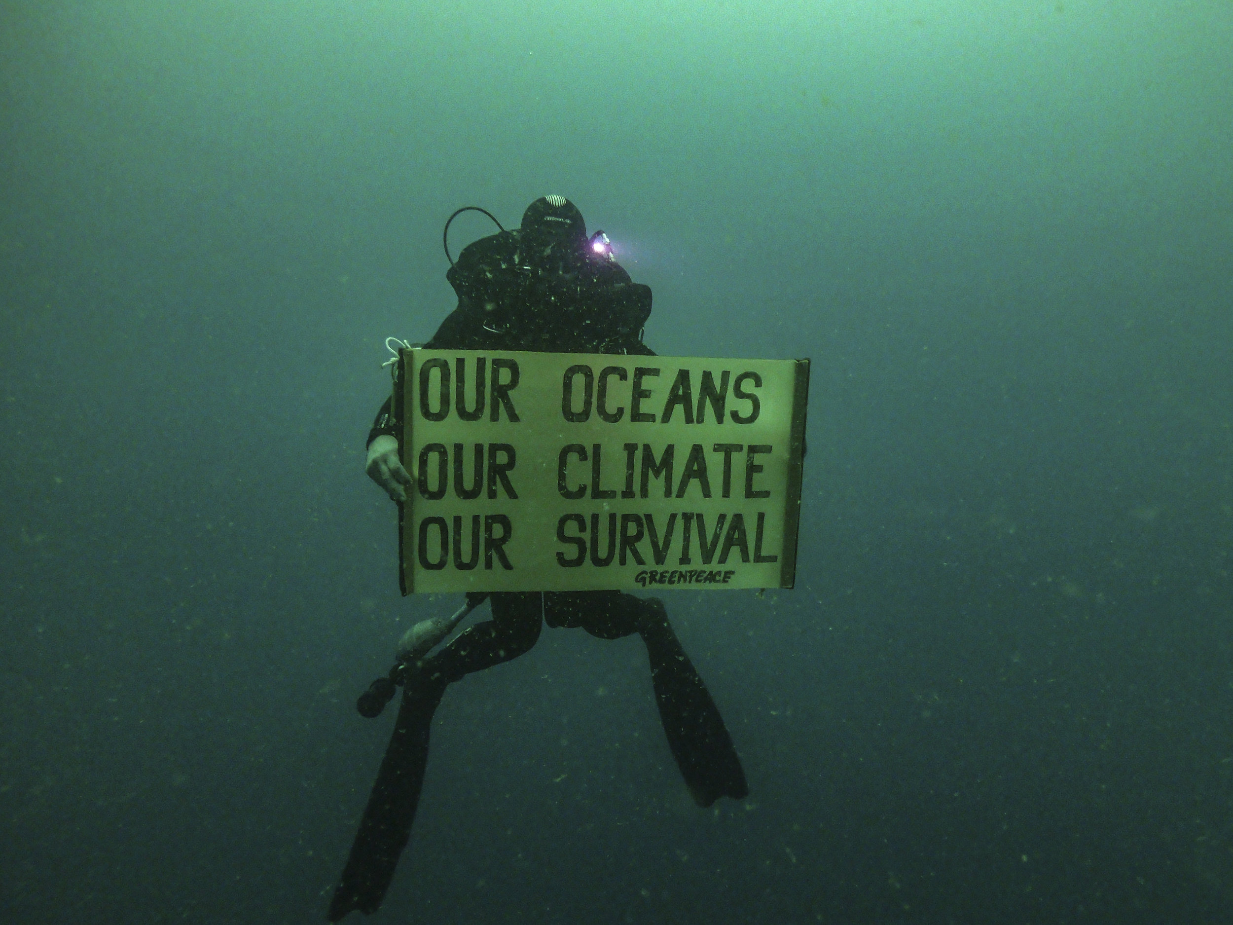 "Diver holding a Greenpeace banner saying ""Our Oceans, Our Climate, Our Survival""."