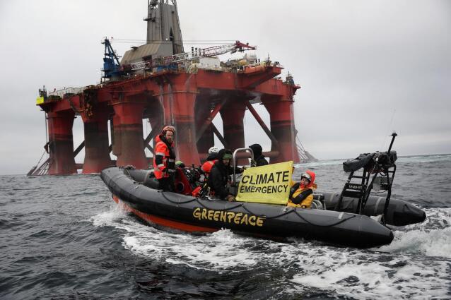 Activists on Boat alongside BP Oil Rig in the North Sea
