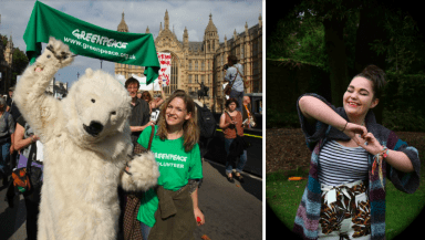 Montage showing returning volunteer Jess at the People's Climate March in 2014, and new volunteer Zoe smiling and making a heart shape with her hands.