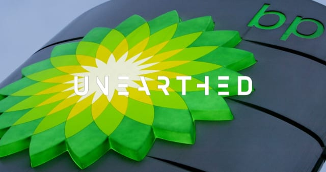 Close-up of a BP petrol station sign, with the Greenpeace Unearthed logo overlaid on top