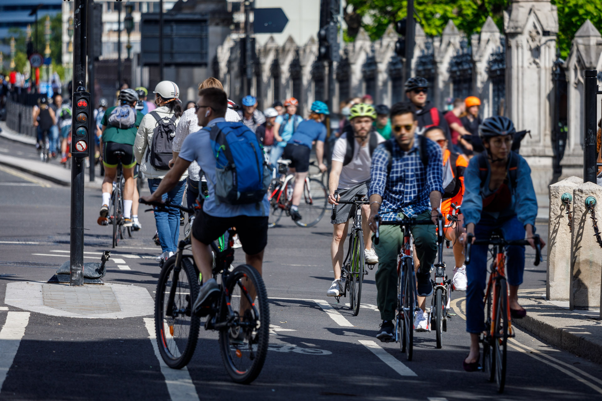 People riding bikes on a separated cycle lane