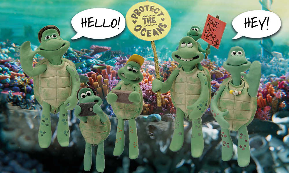 The family of cartoon sea turtles stand together, waving at the camera and holding placards with ocean protection slogans. Speech bubbles read 'Hello!' and 'Hey!'