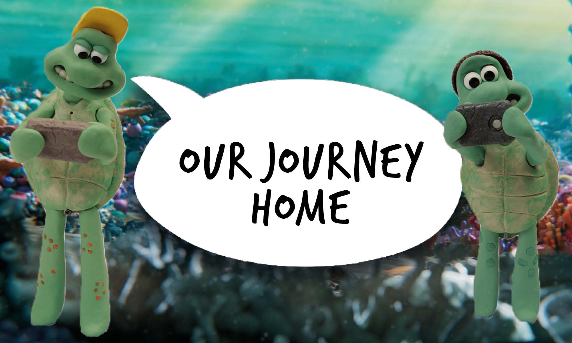 Younger cartoon turtles with a speech bubble that reads 'Our journey home'