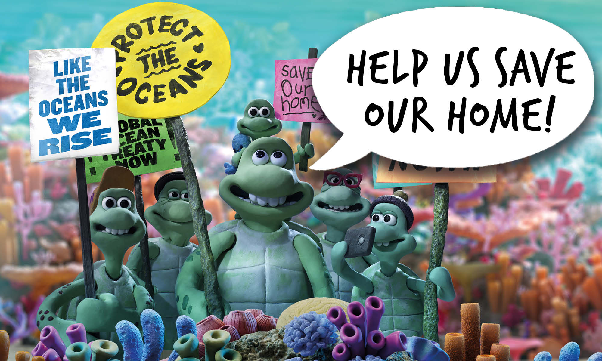 The family of cartoon sea turtles stand together holding placards with ocean protection slogans. Speech bubble reads 'Help us save our home'
