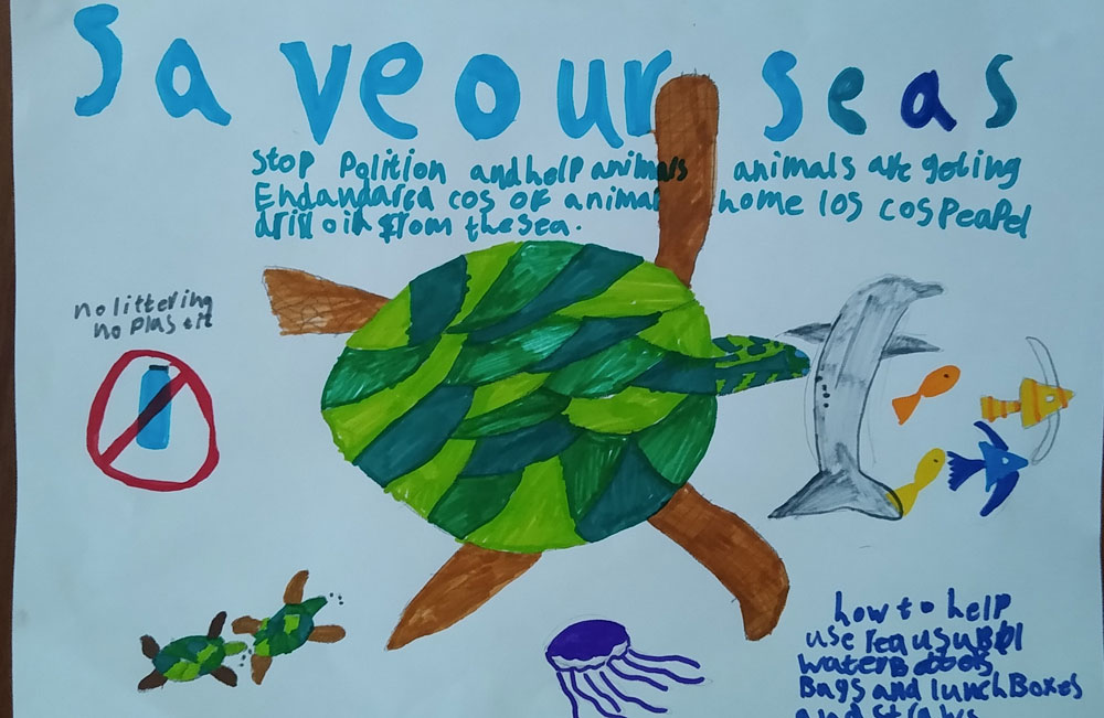Hand-drawn poster showing a turtle and other sea creatures. Text reads
