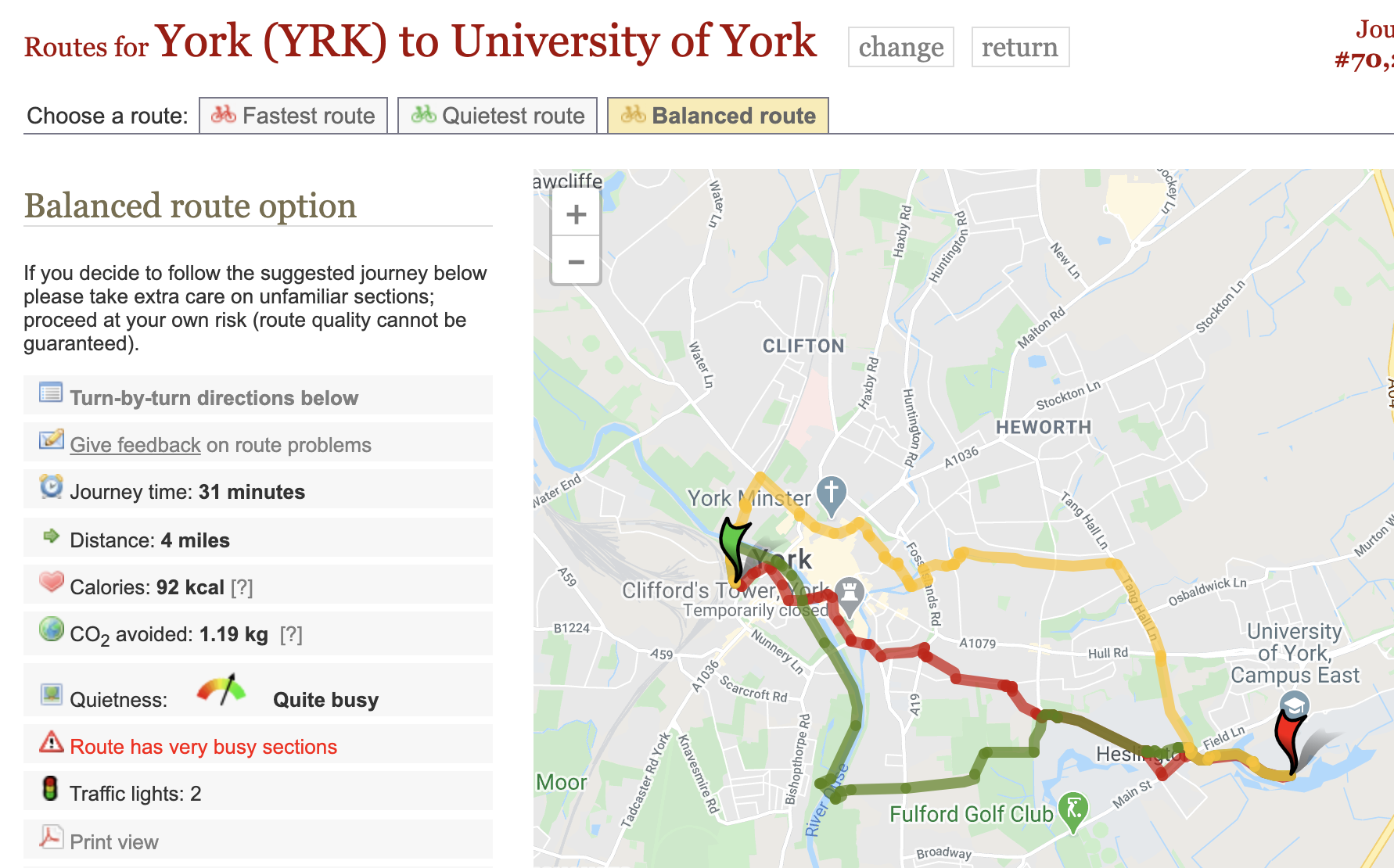 A cycling route map showing three ways to get from York railway station to York University