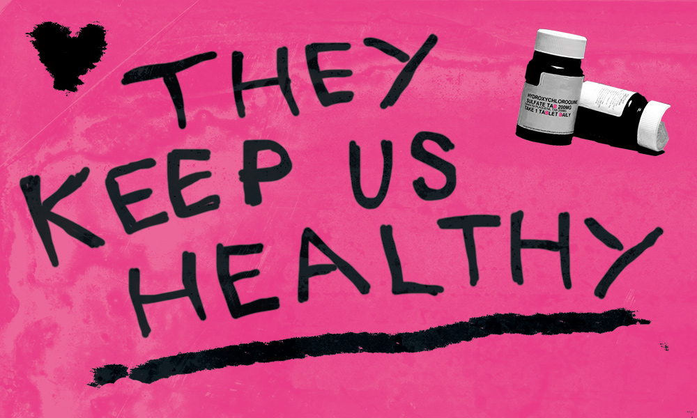 Hand-drawn text reads 'They keep us healthy' next to two pill bottles