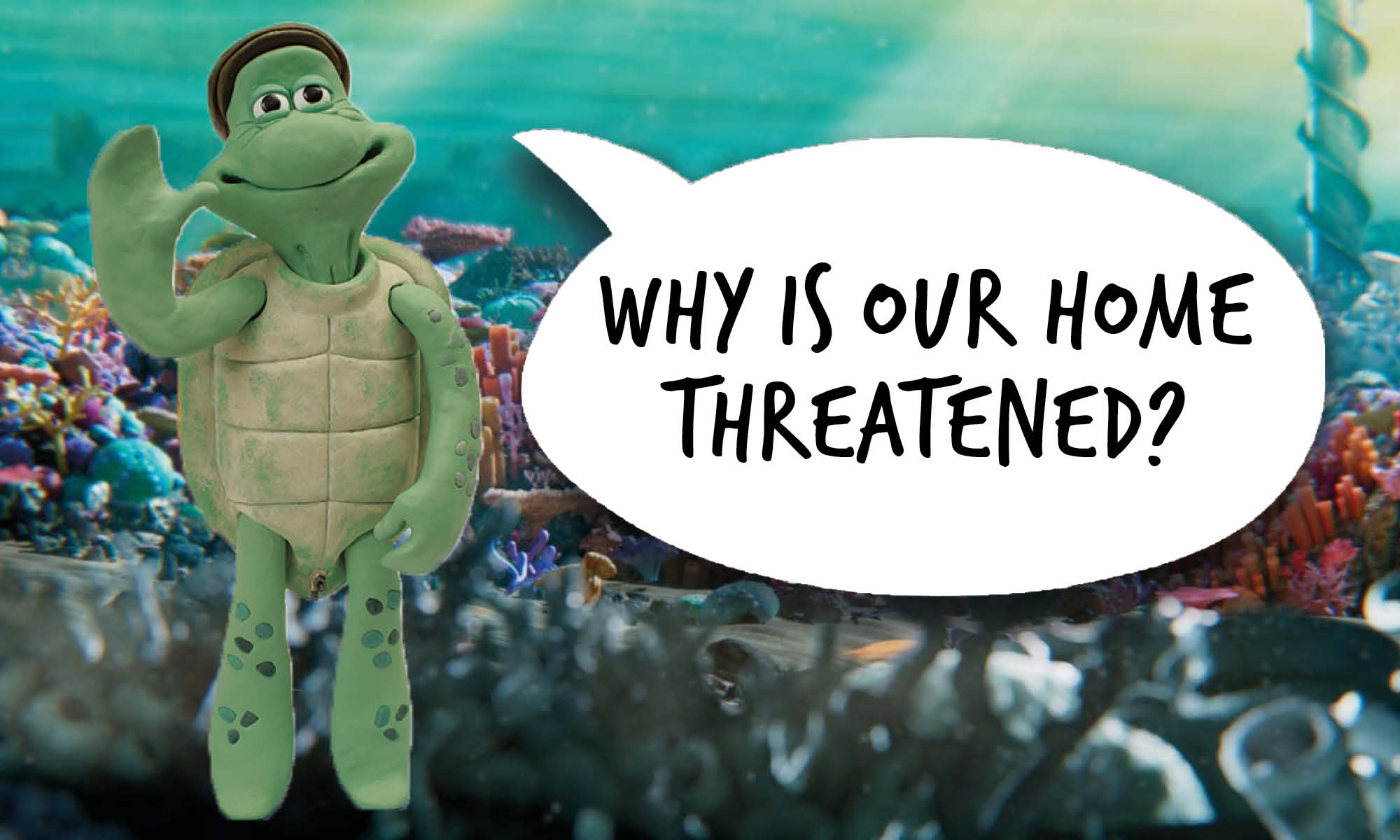 Older male cartoon turtle with a speech bubble that reads 'Why is our home threatened?'