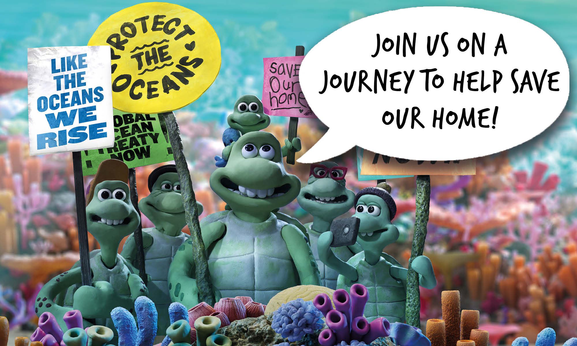The family of cartoon sea turtles stand together holding placards with ocean protection slogans. Speech bubble reads 'Join us on a journey to help save our home'