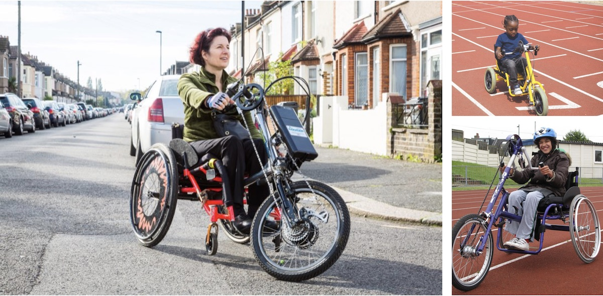 A woman rides down a residential street on an adult tricycle designed for people with disabilities