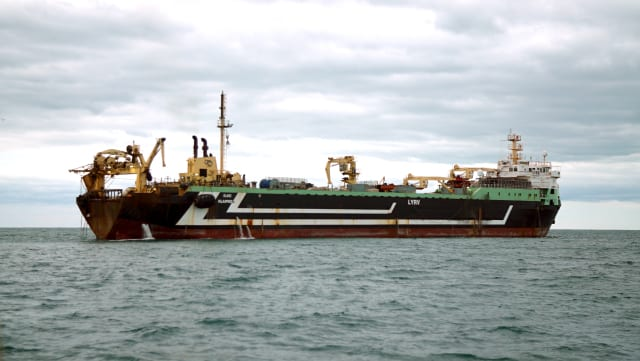 Margiris supertrawler fishing in the English Channel, off the coast of Brighton.
