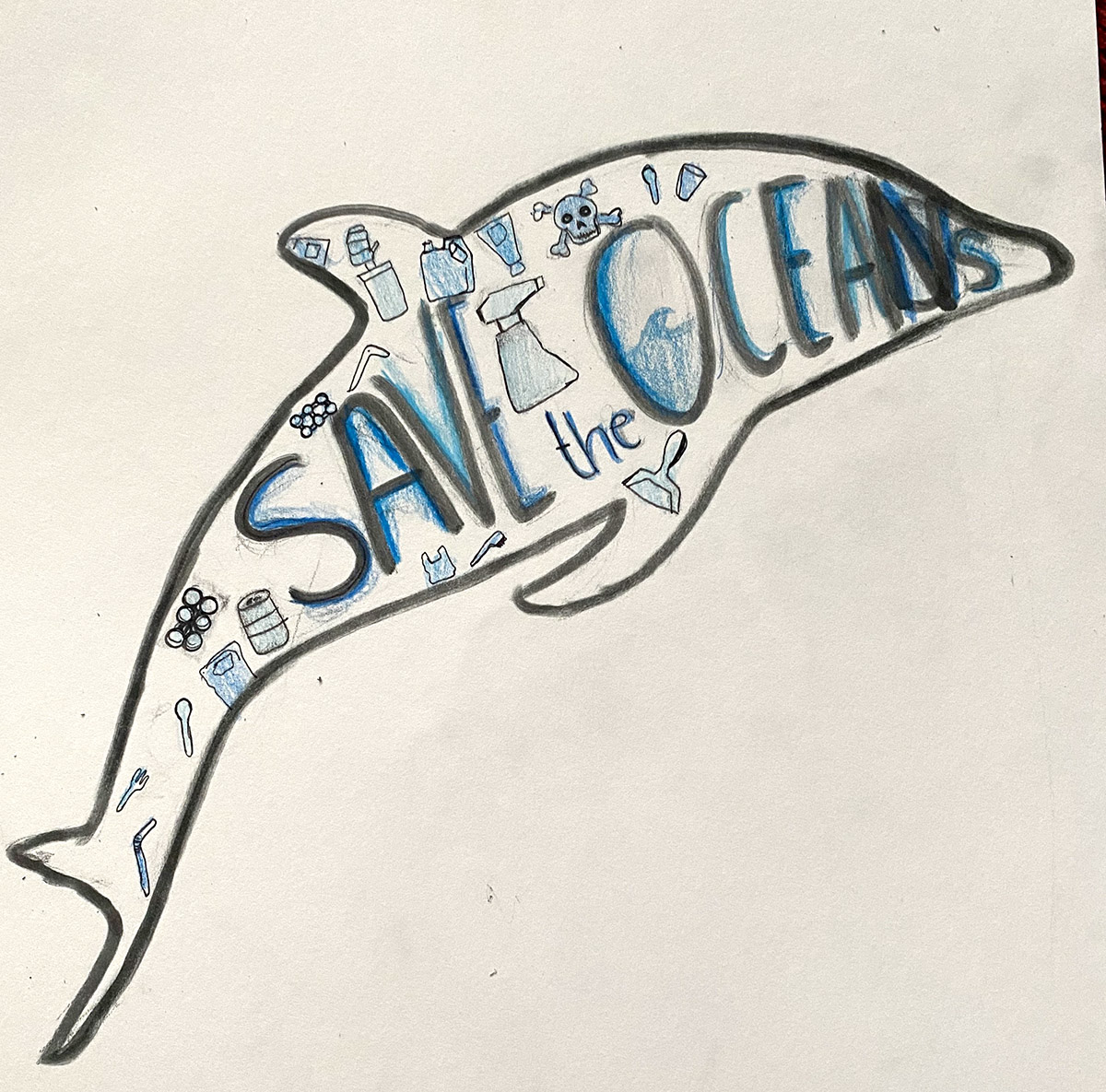 Outline of a dolphin with 'Save the oceans' written inside in decorative text, with small pictures of plastic objects around the text.