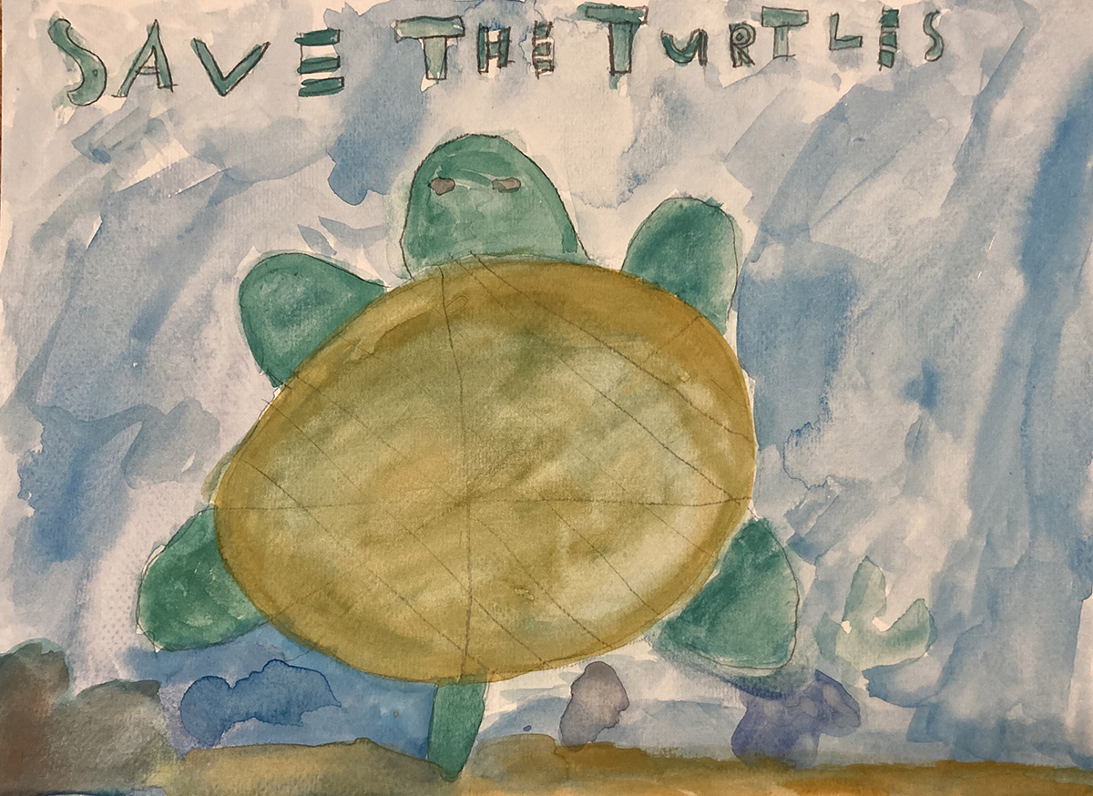 A hand-painted child's poster showing a turtle viewed from above against a blue background. Text at the top reads 'Save the Turtles'.