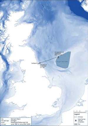 A map showing part of the North Sea, with Dogger Bank highlighted. An overlay shows the movements of a fishing vessel, and highlights where it switched off its AIS tracking system.