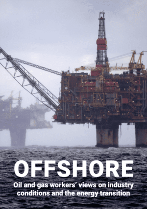 Cover of the report 'Offshore: oil and gas workers' views on industry conditions and the energy transition' showing two offshore oil platforms