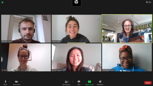 Six Greenpeace staff members on a Zoom call