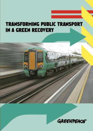 Cover of the Greenpeace briefing, showing a train with motion-blurred background