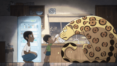Screenshot from Greenpeace's Monster animation showing a child and parent standing face to face with a jaguar in their kitchen at home