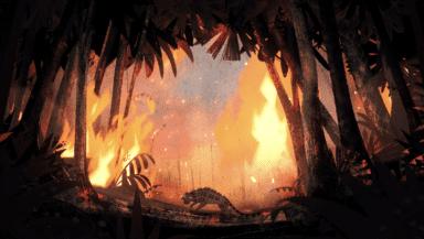 A cartoon jaguar runs through a burning jungle in this screenshot from Greenpeace's Monster animation