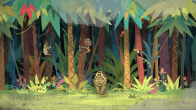 A cartoon jaguar emerges from the jungle in this screenshot from Greenpeace's Monster animation