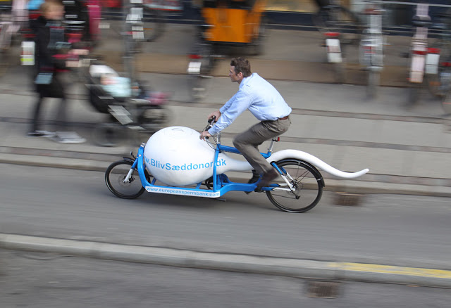 A rider pilots a cargo bike with a sperm-shaped cold storage unit mounted to the front
