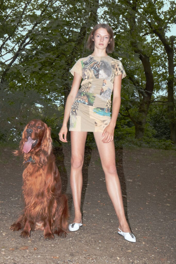 Woman standing in a forest with a patwork T-shirt dress with a red Irish setter dog by her side