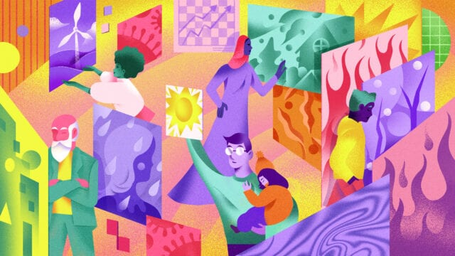 Illustration shows various people reaching out and touching floating squares with images representing various crisis
