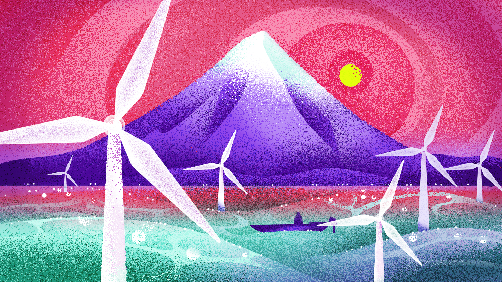 Illustration shows wind turbines in turbulent seas, with a mountain in the background