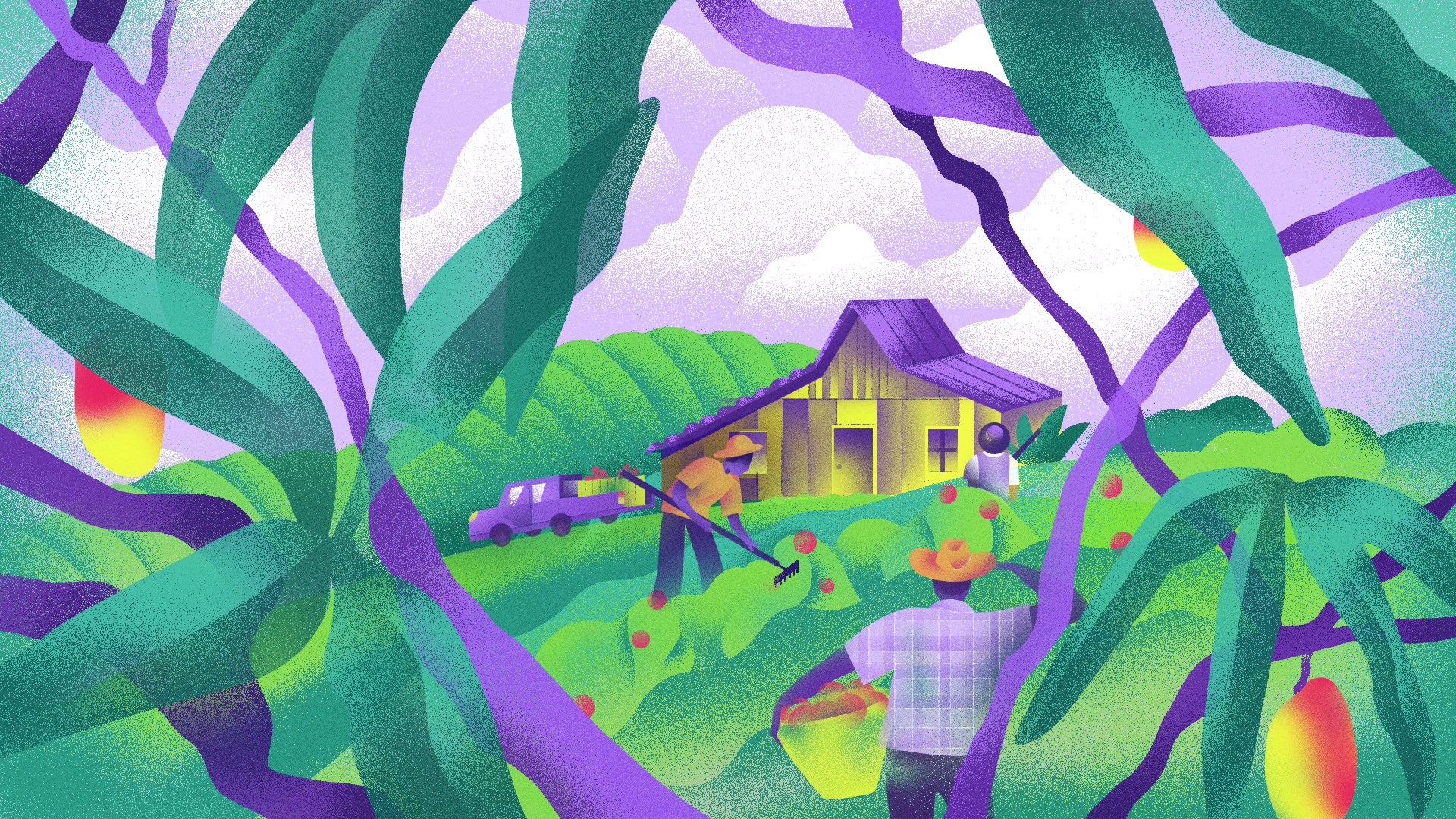Illustration shows people harvesting crops in a lush landscape