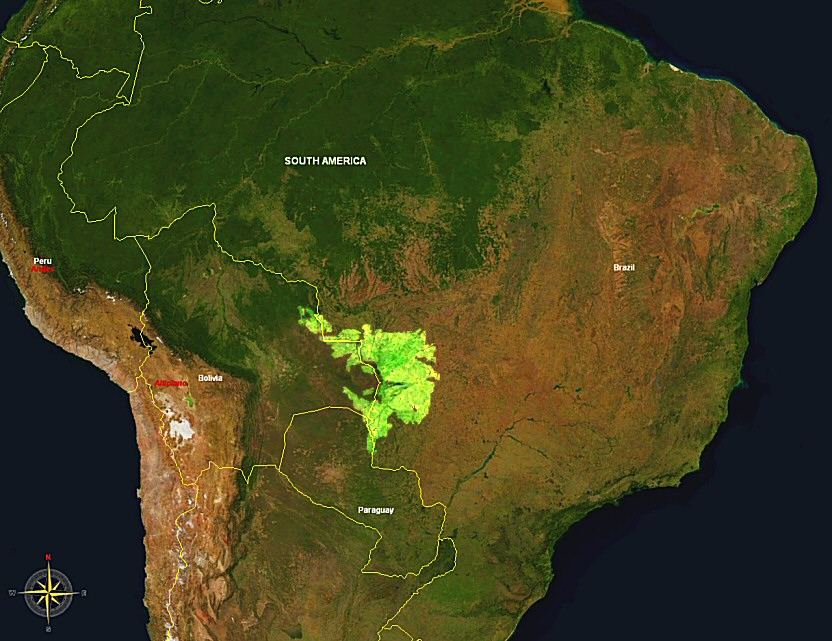 Map showing the location of the Pantanal within South America