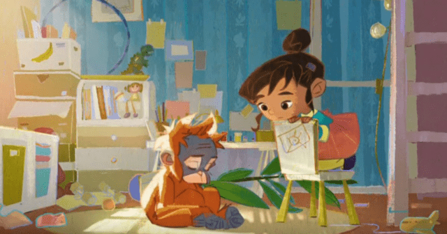 A girl sits in her bedroom with a young orangutan, in this screenshot from the animated short film Rang-tan