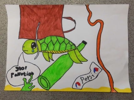 Poster drawn by a school pupil calling for better ocean protection. Features a turtle swimming amongst discarded bottles and other pollution.