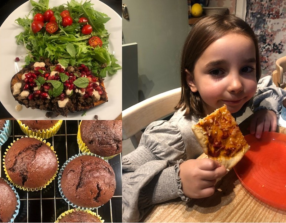 Photo montage shows a child eating a slice of pizza, a tray of chocolate cupcakes, and a colourful aubergine dish topped with tahini and pomegranate seeds, served with salad