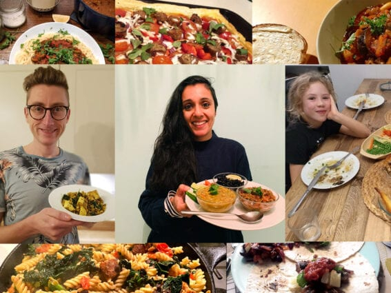 Photo montage shows people holding up their vegan dishes and smiling at the camera, with closeups of other vegan dishes above and below