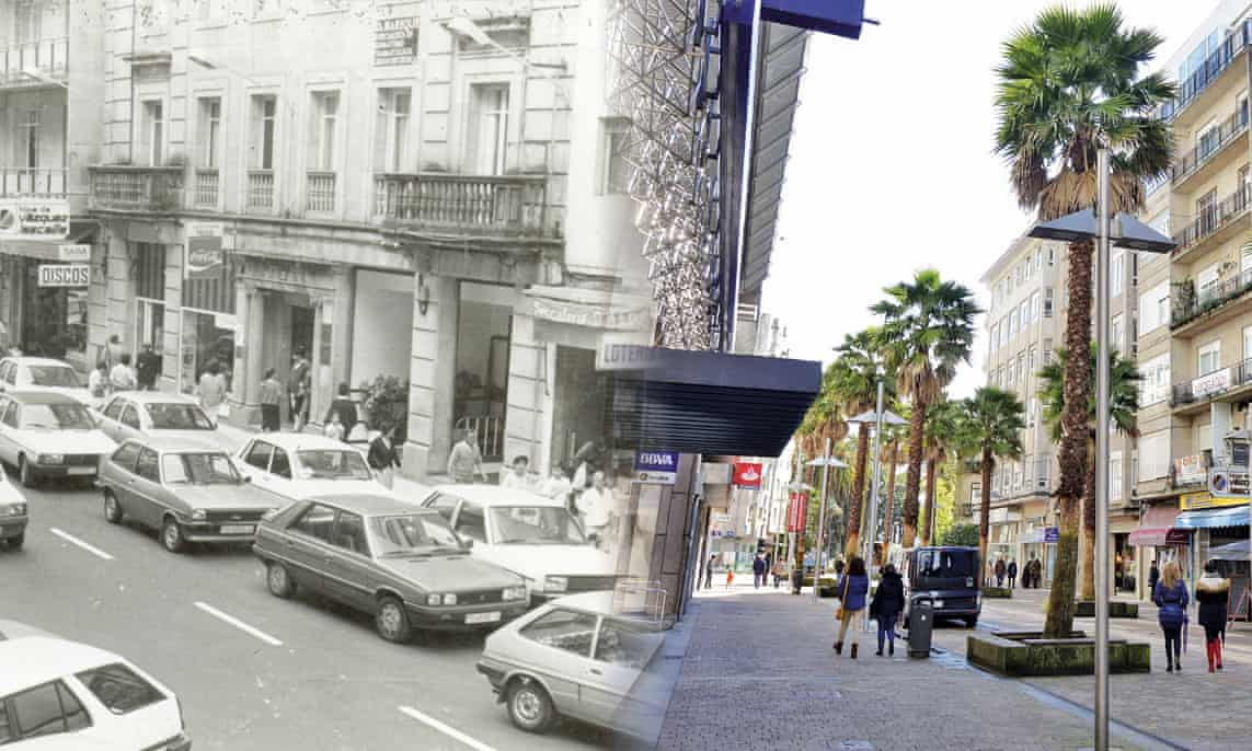 a before-and-after montage with a black and white photograph on the left with a street filled with cars, and the same street on the left in full colour with no cars, trees and people walking in the pedestrianised avenue