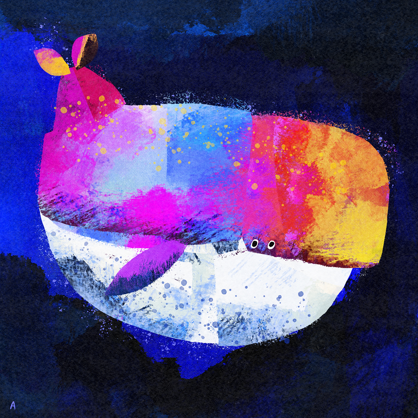 A roundish whale with a square forehead, painted in many different colours - bright pink, light blue, yellow, orange, purple, red with a white belly with blue paint splashes on it - and a tiny tail and two tiny eyes, on a dark blue background with a royal blue trail behind it.