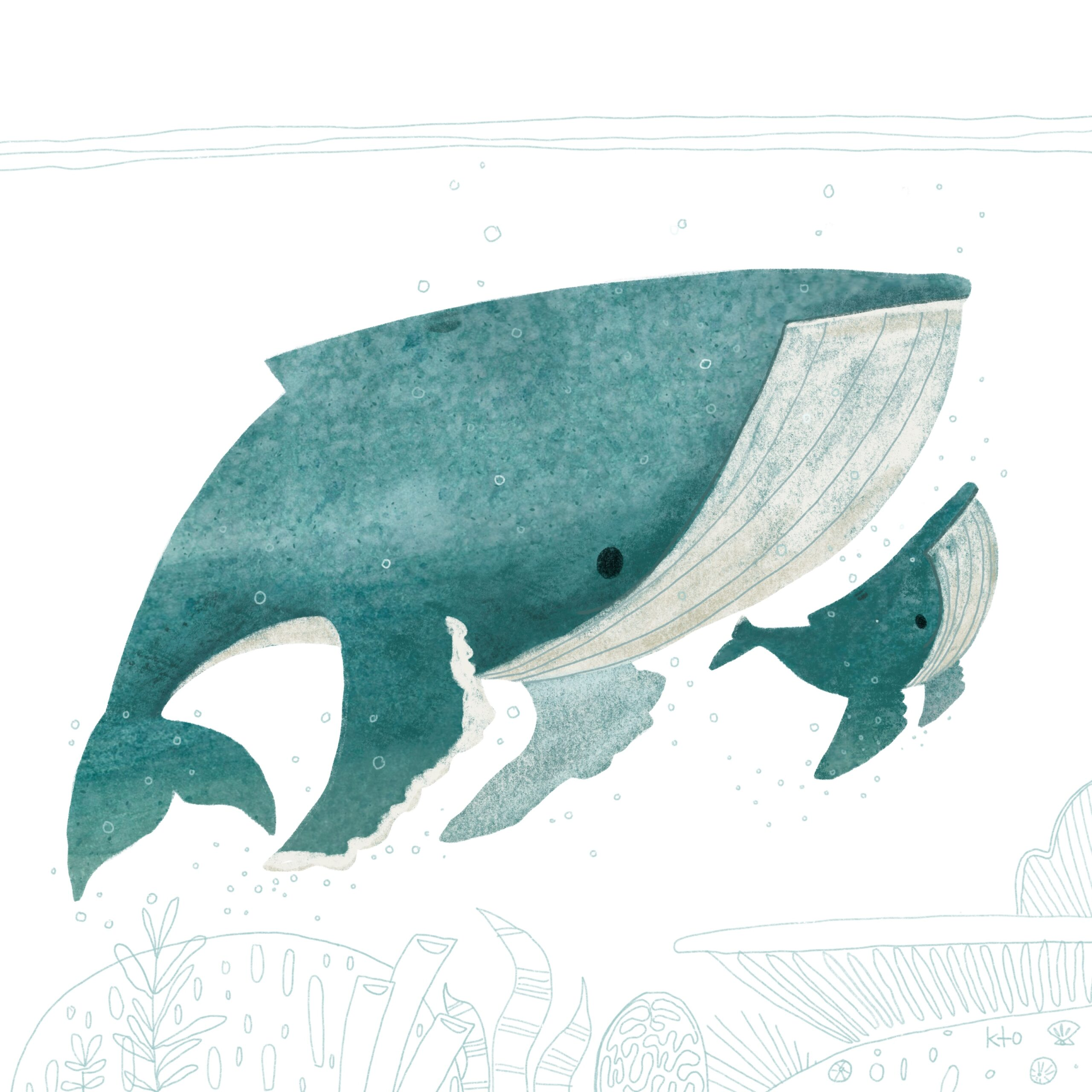 Abstract painting of a whale and baby whale in teal watercolour with very feint teal line drawings of the sea floor underneath, bubbles around and three lines of the sea's surface above.